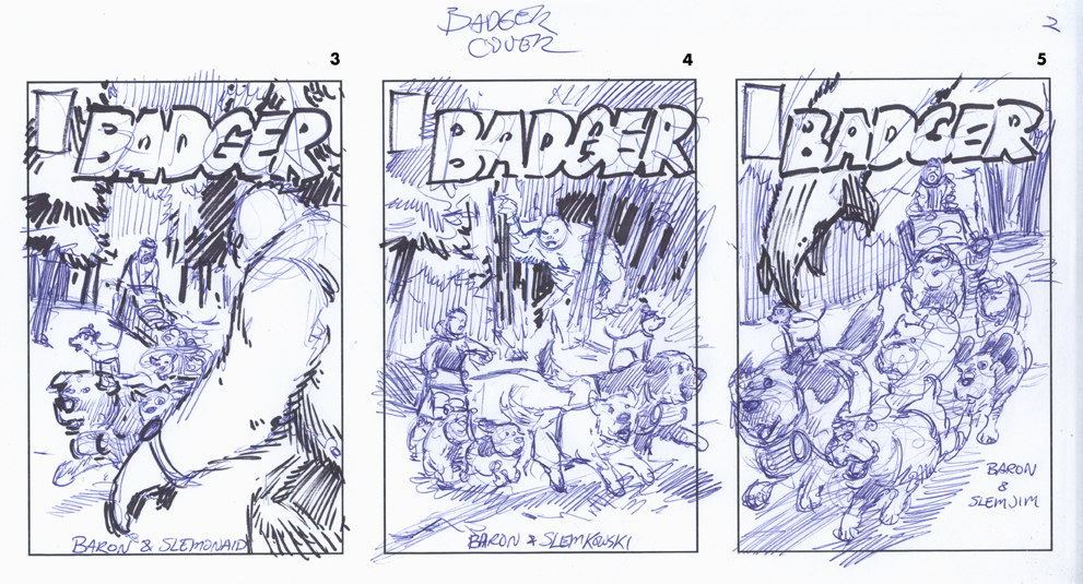 badger comic, comic book cover thumbnails, jeff slemons, layouts