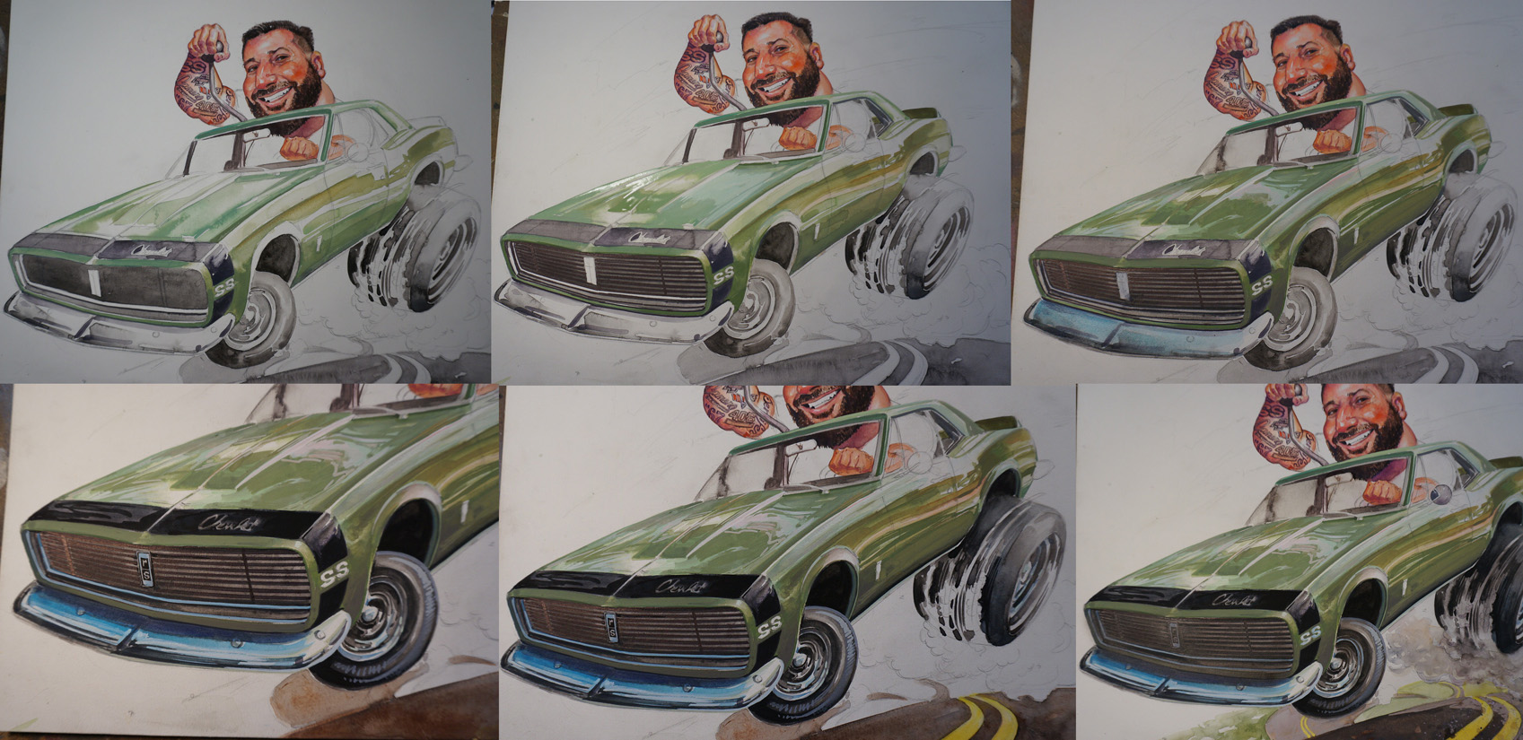 '67 chevy camaro, caricature, toon up, muscle car, hot rod, full color illustration, jeff slemons