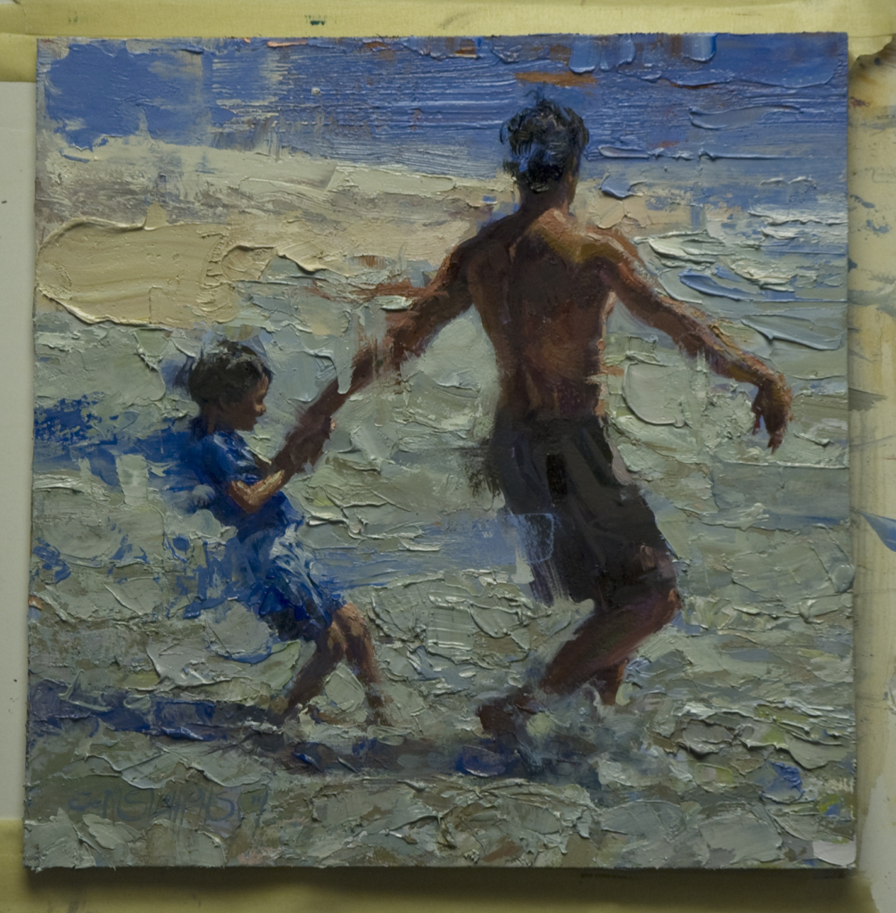 Oil Painting, Beachscapes, beach, swimmers