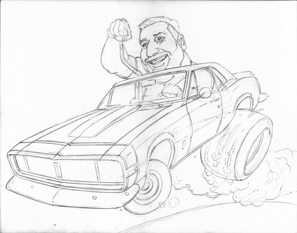'67 chevy camaro, caricature, toon up, muscle car, hot rod, final pencil, jeff slemons