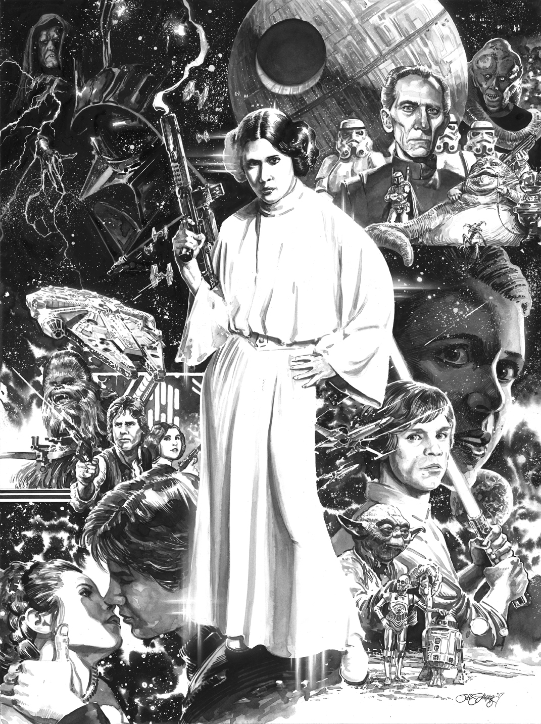 Princess Leia, Pen & Ink, inking, comic art, star wars, science fiction